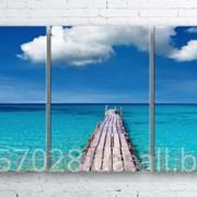Модульна картина на полотні Морський міст код КМ100180-042 фото