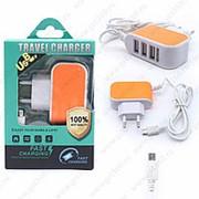 Сетевое Зарядное Устройство Travel Charger 3 USB + Micro USB Orange (Оранжевый) фото