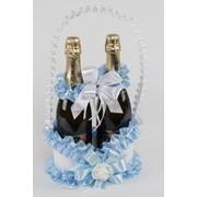 Корзинка для шампанского №21, белый/голубой (с ручкой) фото