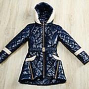 Красивая демисезонная куртка для девочки темно-синяя фото
