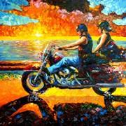 Картина в стиле импрессионизм о мотоцикле фото