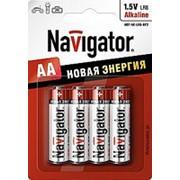 Батарейка Navigator 94753 LR6 BP4 пальчиковая 4шт. /20/100/ фото