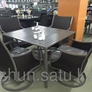 Набор мебели, стол + четыре кресла, искусственный ротанг с железным крашеным каркасом фото