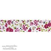 Скотч тканевый декоративный с принтом Цветы (розовый) фото