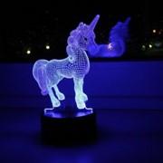 СТАРТ ночник 3D Единорог 2W RGB, пластик, сенсор, 13x23см, microUSB или 3xAA фото