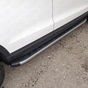 Пороги Audi Q3 2011-наст. время (алюм. с пласт. накладкой карбон/серые) фото