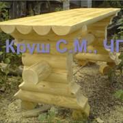 Стол из оцилиндрованного бревна фото