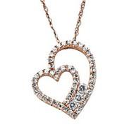 Кулон стильный сердце с бриллиантами VVS1/D 0.80Сt фото