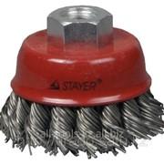 Щетка Stayer чашечная для УШМ, закаленн сплет стальная проволока 0,8мм, 65мм/М14 Код:35277-065 фото
