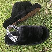 Тапочки женские угги черные натуральные из овчины, Р-р 37-41 фото