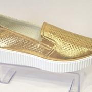 Слипоны женские золотые El Passo 1428 фото