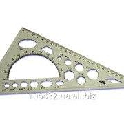 Треугольник пластиковый 25см 906030 с транспортиром 222015 фото