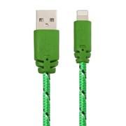USB кабель «LP» для Apple iPhone/iPad Lightning 8-pin в оплетке (зеленый/черный/коробка) фото