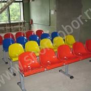 Скамейка для кабинок металл/пластик, 2 места, 920х700х450мм фото