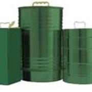 Классическая цилиндрическая емкость для масла с крышкой и рукояткой из пластика. Объем 10 литров. фото
