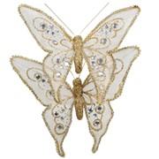 Декор Бабочка из органзы 15х12см золот фото