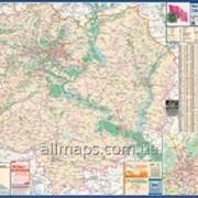 Карта автодорог Харьковская область 140х100см М 1:200 000 ламинированная/на планках Код товара 222706 фото