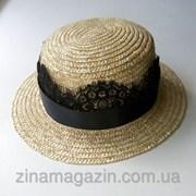 Шляпа канотье с гипюром фото