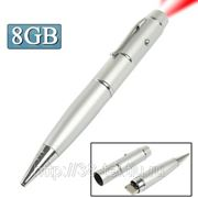 USB Flash накопитель - 3 в 1 - ручка, лазерная указка, Flash накопитель (8 GB) Серебро фото