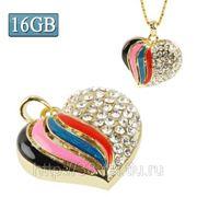 USB Flash накопитель - Бриллиатовое красочное сердце (16 GB) фото