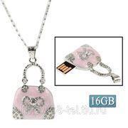 USB Flash накопитель - Розовая бриллиантовая сумочка (16 GB) фото