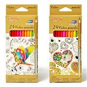 "Карандаш 114409 Yalong YL 817183-24 набор ( 12 шт./ 24 цв.) дерево ""Узор-4"" ""Colored Pencils DUO "" ( цена за 1 уп.) фото"