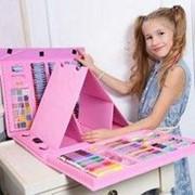 Набор юного художника с мольбертом, 208 предметов (розовый) фото