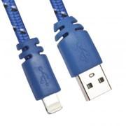 USB кабель «LP» для Apple Lightning 8 pin плоская оплетка (синий/европакет) фото