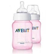 Бутылочка Розовая для кормления Avent Philips 260 мл, 2шт Полипропилен 81450 фото
