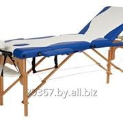 Складной 3-х секционный деревянный массажный стол BodyFit, бело-синий фото