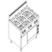 Плита газовая 6-ти конфорочная Kogast с электрической духовкой на GN 2/1 + нейтральный шкаф КS-T69/1-0 фото