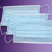 Маска медицинская трехслойная на резинках фото