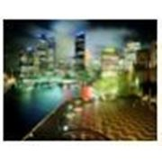 Постер в рамке «Парк у города «, формат А4, светится в темноте фото