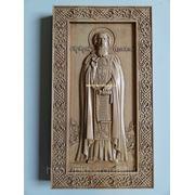 Резная икона - Святой Сергий Радонежский фото