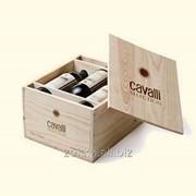 Ящик для вина на 6 бутылок с ручками сквозными по бокам фото