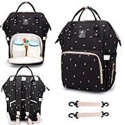 Сумка-рюкзак для мамы с USB/ черный с цветами фото