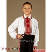 Сорочка для мальчиков с красной вышивкой (chs-23-02)