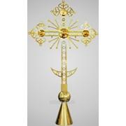 Крест на купол №6 ажурный h 3м с шаром и конусом золочение фото
