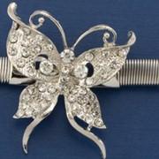 Ремень Р-64 резинка, пряжка бабочка, серебро фото