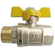 ЗКр105-20 Кран шаровый AW-standart желтый, 20(3/4) п/м, мотыль, 30bar, никель/латунь 20*80 фото