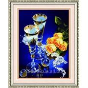 """Набор для рисования камнями """"Бокалы и розы"""" 80055 фото"""