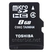 Карта памяти MicroSDHC 8GB Toshiba Class 4 + SD-adapter (SD-C08GJ(6A), код 103896 фото