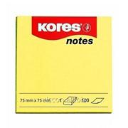 Стикер для заметок с липким слоем, 75 x 75 mm, 100 желтых литсиков, kores K46075 фото
