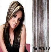 Славянские волосы. 100 прядей. Длина 60 см. Оттенок — стандартный блонд/коричневый оттенок №4/613 фото