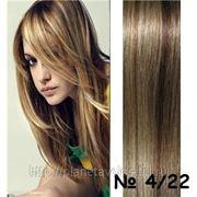 Славянские волосы. 100 прядей. Длина 55 см. Оттенок -коричневый/ блонд — оттенок №4/22 фото