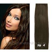 Славянские волосы. 100 прядей. Длина 60 см. Оттенок Насыщенный коричневый — оттенок №4 фото