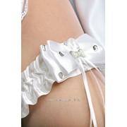 Подвязка Бантик, белый (атлас) фото