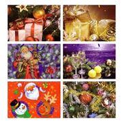 Пакет подарочный широкий новогодний средний фото