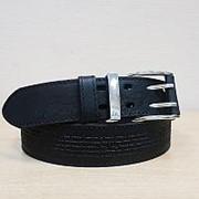 Кожаный ремень с молитвой, джинсовый фото