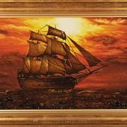 Картина янтарная Корабль фото